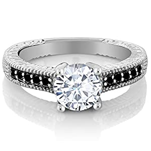 Charles & Colvard 1.50 Ct White Created Moissanite Black Diamond 925 Silver Ring (Ring Size 9)