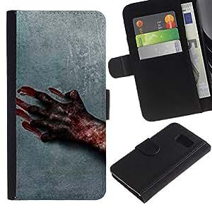 Samsung Galaxy S6 / SM-G920 , la tarjeta de Crédito Slots PU Funda de cuero Monedero caso cubierta de piel ( Blood Hand Scary Halloween Grey Horrible)