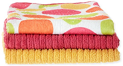 John Ritzenthaler Co Ritz Microfiber 16 by 19-Inch Polka Dot and 2 Solid Bar Mop Towels, 3-Pack