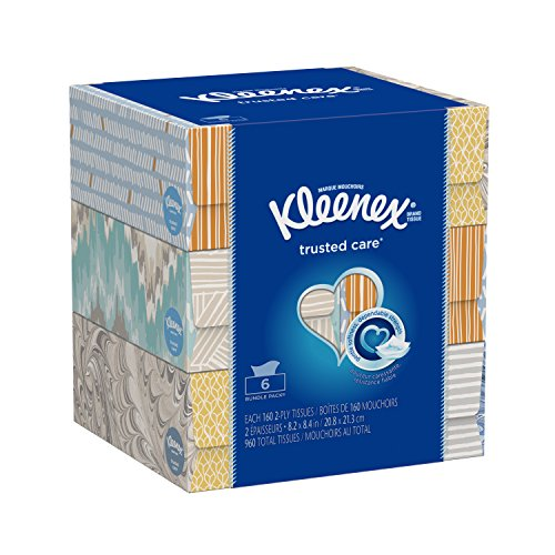 Kleenex Trusted Care Everyday Facial Tissues, Flat Box, 160