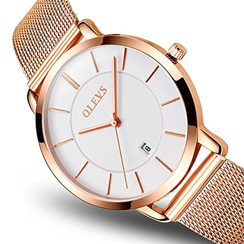 Womens Watches Japanese Quartz Analog Wrist Watch,Women's Rose Gold-Tone Stainless Steel Bracelet Watch,Ultra Thin Lady Watch Bands Women Water Resistant Analog Wrist Watches White Dial with (Gold Tone Water Resistant Bracelet)