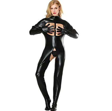 SHANGXIAN Mujer Sexy Latex Catsuit Erótico Wetlook Mono ...