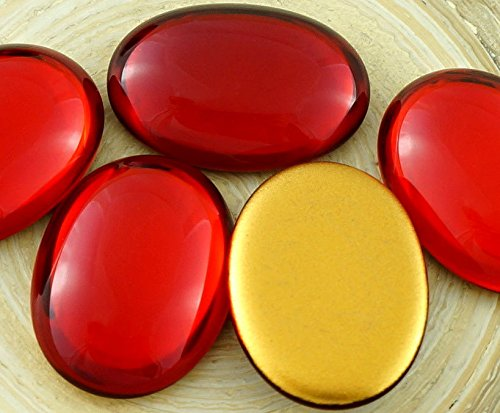 2pcs Crystal Ruby Red Gold Oval Domed Czech Glass Cabochon 25mm x ()