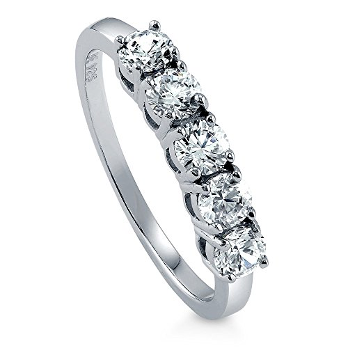 Rhodium Plated Sterling Silver Band (BERRICLE Rhodium Plated Sterling Silver Cubic Zirconia CZ 5-Stone Ring Size 9)