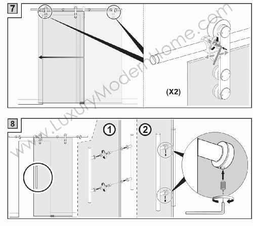 BERLIN - 2.5M - DOUBLE Sliding Glass Door Hardware (100'' opening - Max 2 - 50'' doors) by LuxuryModernHome.com (Image #7)