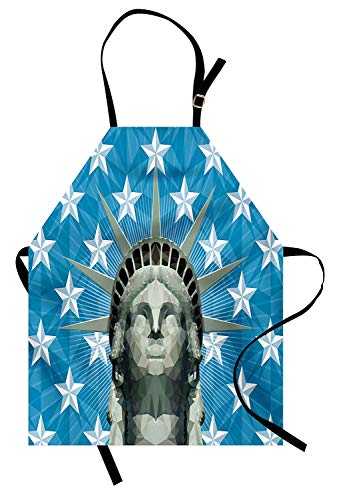 T&H Home New York Apron, Mosaic Style Statue of Liberty Figure on Nautical Stars Backdrop, Unisex Kitchen Bib Apron Adjustable for Kids Adults Cooking Baking Gardening, Sage Green Blue and White
