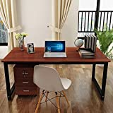 Masmartox Office Computer Desk-Writing Desk 55in Study Table Office Desk Workstation for Home Office Desk Teak+black leg