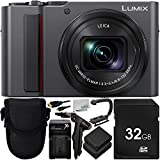 Panasonic Lumix DC-ZS200 Digital Camera (Silver) with 9pc Accessory Bundle – Includes 32GB SD Memory Card + 2x Replacement Battery + Point and Shoot Case + Table Top Tripod + MORE