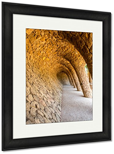 Ashley Framed Prints Wave Archway Park Guell Barcelona Spain, Wall Art Home Decoration, Color, 40x34 (frame size), Black Frame, AG5410504 by Ashley Framed Prints