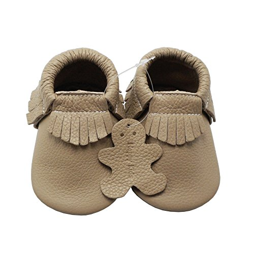 Image of YIHAKIDS Baby Tassel Shoes Soft Leather Sole Infant Shoes Baby Moccasins Crib Shoes Khaki(Size 5,6-12 Months/4.9in)