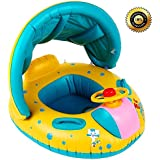 CASA MALL Baby Infant Swimming Pool Float with Canopy, Inflatable Swim Seat Float Boat Suitable for Age 6 - 36 Months Babies