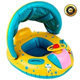 S.K.L Baby Infant Swimming Pool Float with Canopy, SKL Inflatable Swim Seat Float Boat Suitable for Age 6 - 36 Months Babies