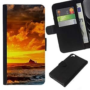 All Phone Most Case / Oferta Especial Cáscara Funda de cuero Monedero Cubierta de proteccion Caso / Wallet Case for HTC Desire 820 // Sunset Rocks