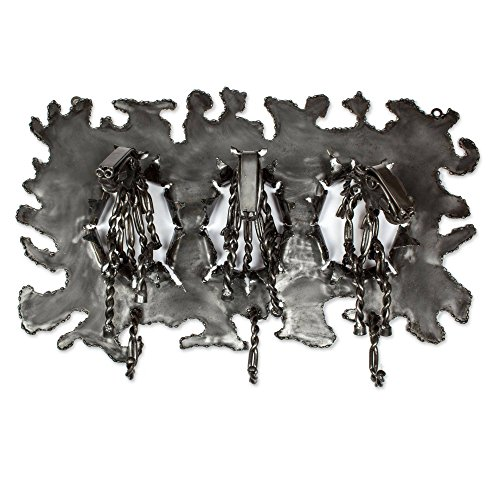 NOVICA Animal Themed Large Upcycled Metal Coat Rack, Metallic, 'Stampede' by NOVICA