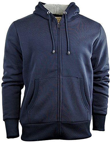 Fleece Lined Hoody - Men's Zip Up Hoodie/Hooded Jacket With Fleece Lining | Soft and Warm Sherpa Lined (Medium, Navy)