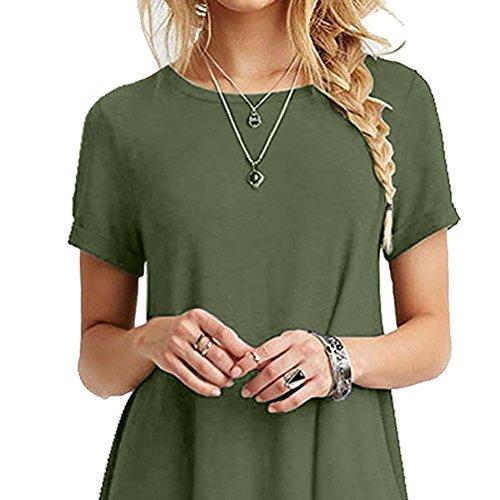 Girocollo Casual Verde Sygoodbuy Delle 123 Allentate Abbigliamento Corta shirt Top T Donne Manica x6adBat