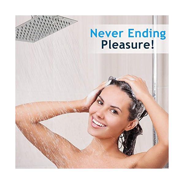 WYJP - Soffione doccia a pioggia, con ugelli anticalcare lucidi, effetto specchio, in acciaio inox 304 7 spesavip
