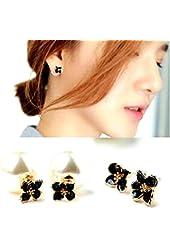 SuSy Han Edition Double-Sided Wear Temperament XiaoZou Chrysanthemum Flower Pearl Earrings, jewelry, earrings, bridal earrings