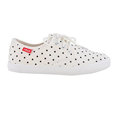 White Colour Doted Stylish Shoes For Girls Womens Buy Online At