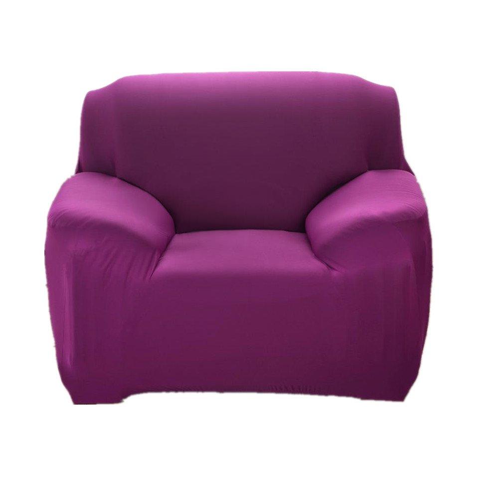 fanjowソリッドカラーストレッチゴム腕Armchair Slipcoverポリエステルスパンデックス生地1ピースストレッチSlipcover椅子ラブシートソファwithout Pillow 1-seat Chair ブルー 1-seat Chair バイオレット B071YBT8FV