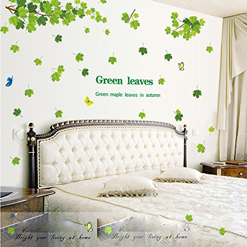 Witkey Falling Leaves Tree Butterfly Green Maple Leaves in Autumn Home Decor Decals Wall Sticker Art Quote and Saying Removable DIY Mural Living Room (Falling Leaves Wall Sticker)