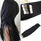 Googoo 24 inch Remy Seamless Adhesive Tape for Glue in Human Hair Extensions Black Color Human Hair 40pcs 100g