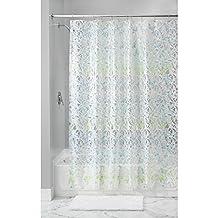 InterDesign Mia Shower Curtain, 72 X 72, White/Blue/Green
