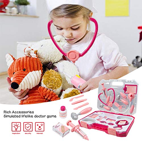 3 otters Doctor Kit for Kids, 22PCS Play Doctor Set for Kids with Stethoscope, Kids Pretend Play Doctor Set Doctor Roleplay Costume Dress-Up, Ages 3+