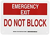 Brady 127146 Fire Safety Sign, Legend'Emergency Exit Do Not Block', 7' Height, 10' Width, Red on White