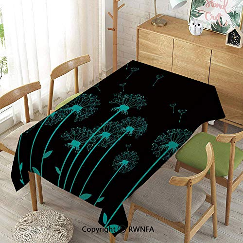 Homenon Decorative Rectangular Table Cloth,Flower,Spillproof Modern Printed,Aqua Charcoal Grey,52