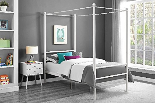 Mainstays Easy to Assemble Modern Design TWIN Size Sturdy Metal Frame Four Post Canopy Bed in White