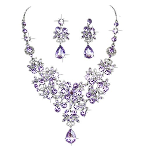 Clearance Deal! Hot Sale! Earring, Fitfulvan 2018 Women Lady Elegant Prom Wedding Bridal Jewelry Crystal Rhinestone Necklace Earring Sets PP (Purple) (Necklace Circular Flower)