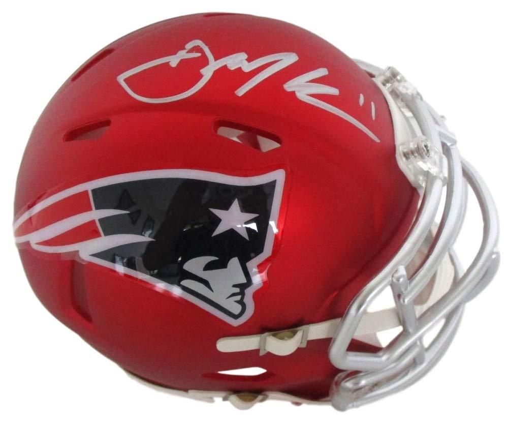 Julian Edelman New England Patriots Signed Autograph BLAZE Speed Mini Helmet JSA Certified