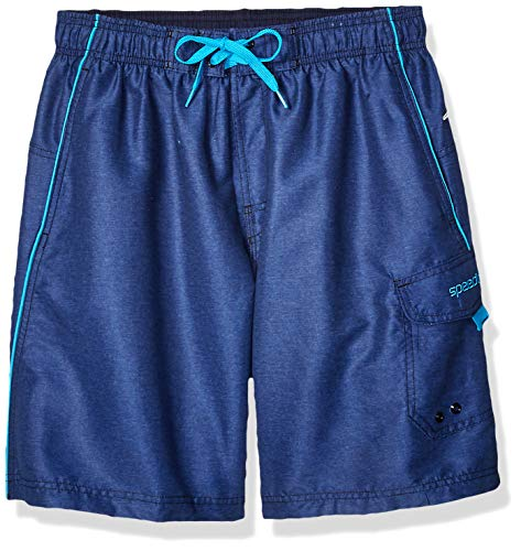 Speedo Men's Marina Swim Trunk, Heather/Blue, X-Large