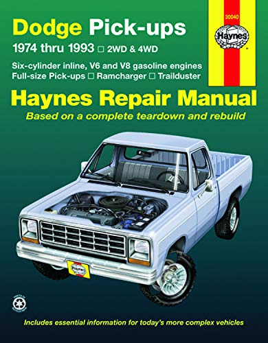 Dodge Ramcharger & Trailduster Full-size Pick-ups (74-93) Haynes Repair Manual (Does not include information specific to diesel engines. Includes coverage apart from specific exclusion noted)