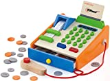 Top Race 30 Piece Wooden Toy Cash Register, Natural Solid Wood Cash Register with Play Toy Wooden Replica US Coins, Scanner, and Credit Card, Grocery Role Play Educational Pretend Toy Set