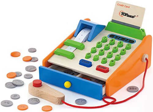 (Top Race 30 Piece Wooden Toy Cash Register, Natural Solid Wood Cash Register with Play Toy Wooden Replica US Coins, Scanner, and Credit Card, Grocery Role Play Educational Pretend Toy Set)