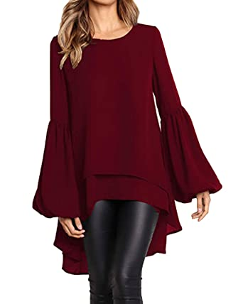 89ecf8c9fe3 STYLE DOME Lantern Long Sleeve Blouses Round Neck T Shirt High Low  Asymmetrical Irregular Hem Tops