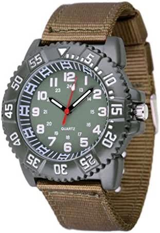 WOLFTEETH Water Resistant Analog Quartz Green Dial Green Band Sport Military Teenager Boy Wrist Watch #3019