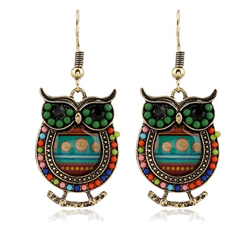 [Vintage Charms Carve Hollow Out Cute Owl Crystal Earrings for Womans Girls] (Homemade Monkey Costumes For Babies)