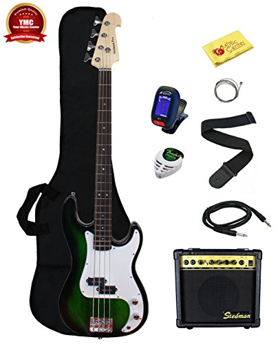 Stedman Beginner Series EB46-BK-15W 46-Inch Electric Bass Guitar Bundle with Accessories, (8 Items), Black