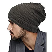 Ellewin Unisex Slouch Beanie Knit Skull Cap Hat Loop Scarf Rectangular Neckerchief (Stripe-Grey)