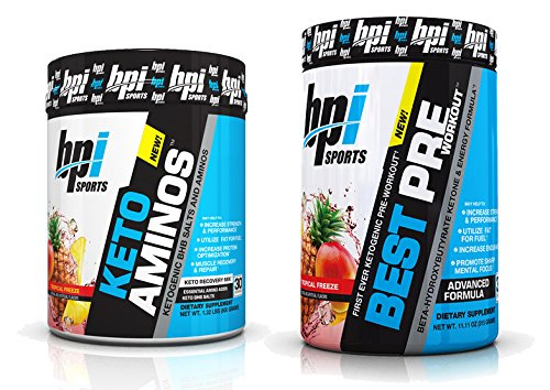 BPI Sports Keto Aminos and Best Pre-Workout Tropical Freeze (30 Servings Each) Weight Loss and Muscle Building Stack - 30 Servings Each