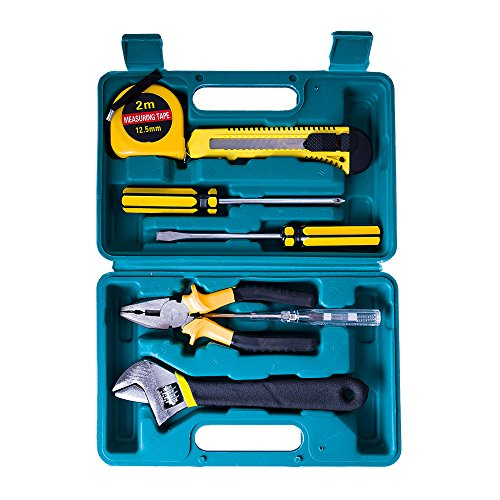 Tester Box (Comwinn 8 in 1 Precision Screwdrivers Set,tape measure,utility knife,pliers,screw drivers,wrench and electric tester screwdrivers with Box for home,apartment,garage, car (Manual-8 in 1))