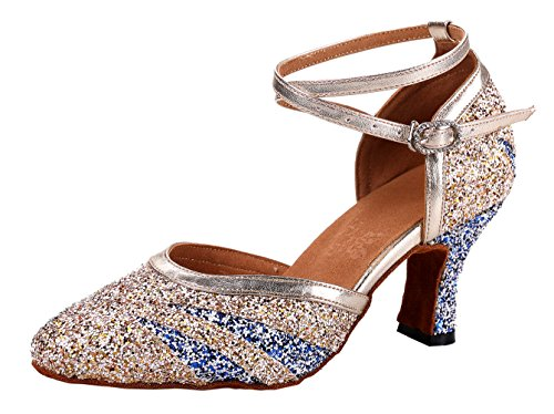 Honeystore Women's Criss Cross Sequin Glitter Multicolored Dance Shoes Champagne 9 B(M) US ()