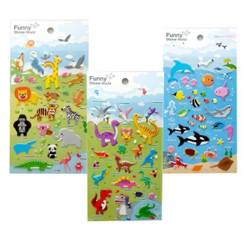 Funny Sticker World Wild Animal Embossed Sticker 3p (Funny Sticker World)