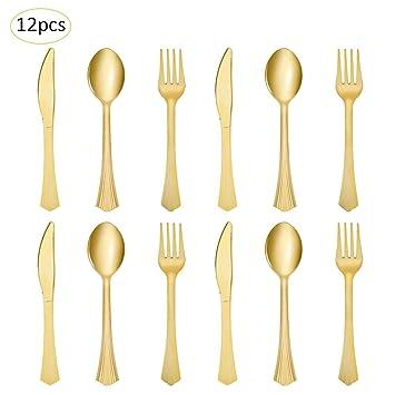 Juego de cubiertos desechables de alta calidad para vajilla desechable (4 cuchillos, 4 tenedores