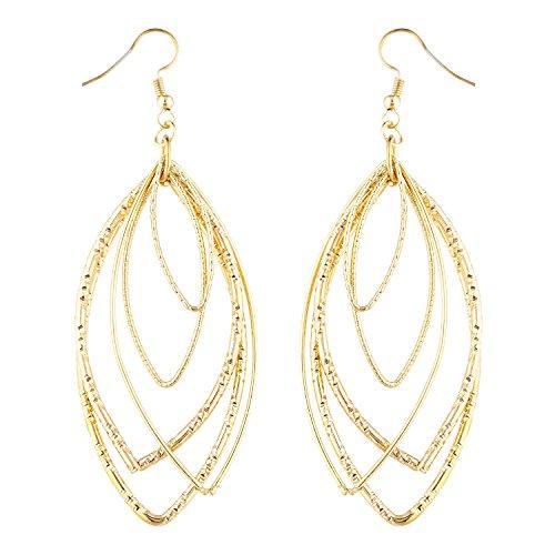Lux Accessories Gold Tone Teardrop Pendulum Multi strand Geo Cutout Earrings ()