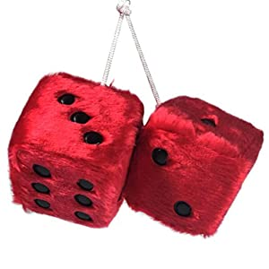 YGMONER Pair of Retro Square Mirror Hanging Couple Fuzzy Plush Dice with Dots for Car Interior Ornament Decoration (red)