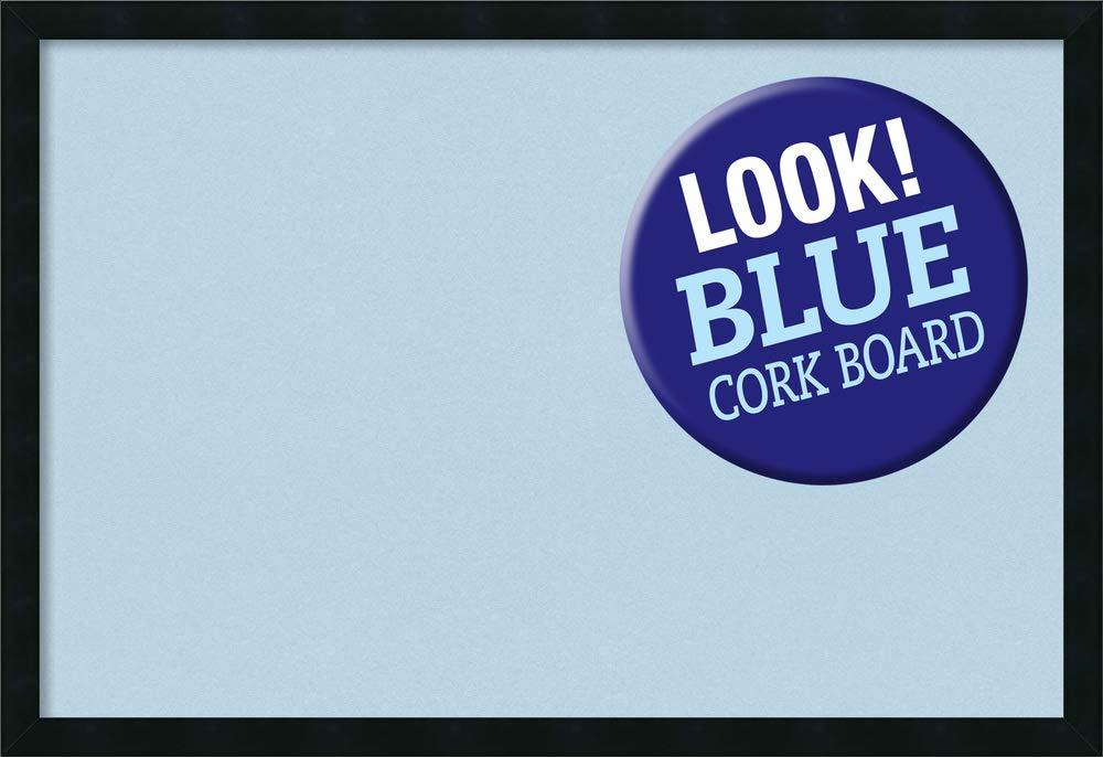 Framed Blue Cork Board Bulletin Board | Blue Cork Boards Mezzanotte Black Frame | Framed Bulletin Boards | 38.25 x 26.25''